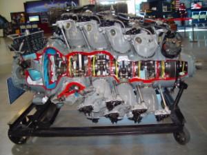 "Cut-away display of the Pratt & Whitney R-4360 ""Wasp Major"" radial engine."