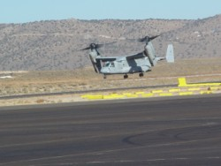 V-22 Osprey on takeoff at Reno-Stead.