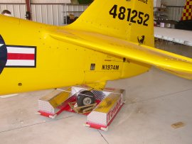 Towbot hooked to a T-6 tailwheel.