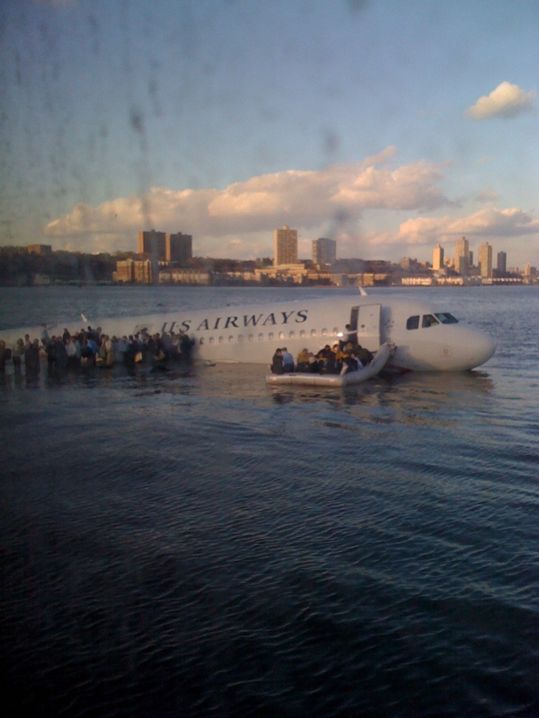 The ditching of USAir flight 1549 in the Hudson river.