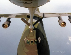 Lockheed C-5 in the air refueling contact position.