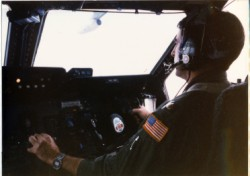 Lockheed C-5 pilot maintaining the air refueling contact position.