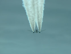 Boeing B-777 100' above and a couple of miles ahead.