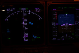 Winds at altitude shown in the top left corner of the navigation display.
