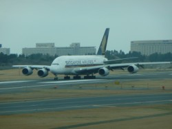 Singapore Airlines Airbus A-380 on departure from Narita, Japan.