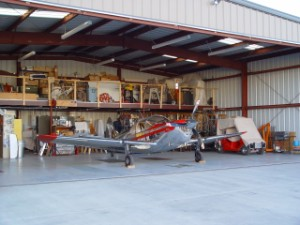 Temco Swift in hangar.
