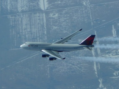 Boeing 747-400 painted in Delta Airlines livery.