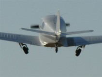 Globe Swift on takeoff. photo: Don Thompson.