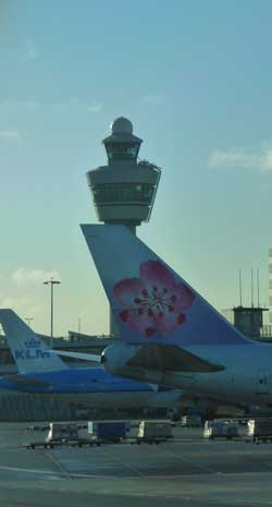 Control tower at Amsterdam Schipol Airport.