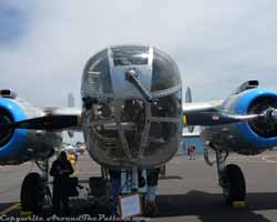 Nose view of a Commemorative Air Force B-25.