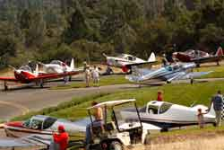 Globe Swift parking at Pine Mountain Lake airport (E45).