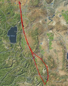 My Spot Tracker flight  KRTS-O57 and return.