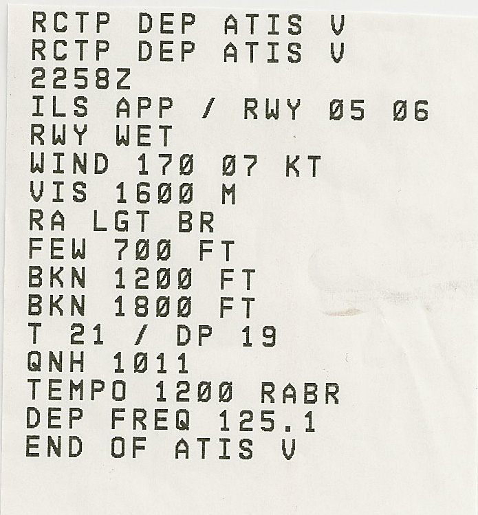 Printout of the TPA ATIS at departure time.