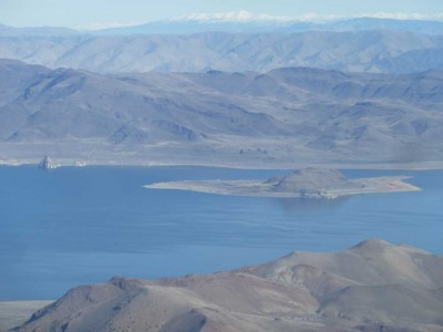 Pyramid Lake slowly raising its water level.