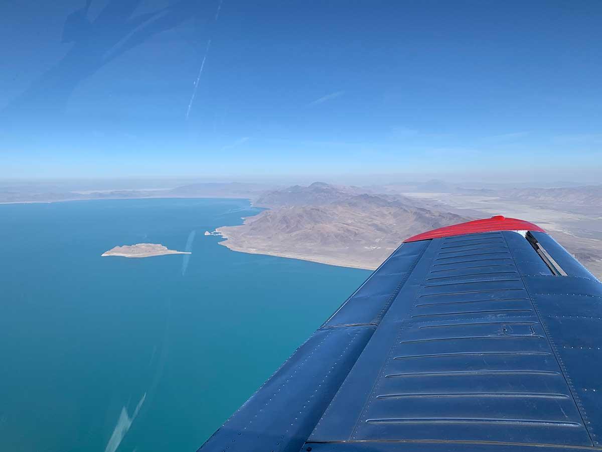 Over Pyramid Lake at 9500'